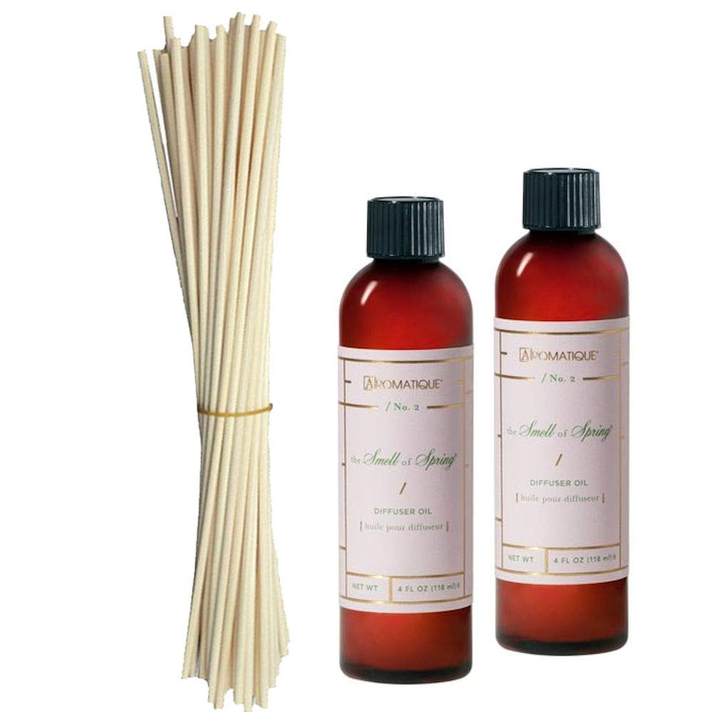 Aromatique Two (2) 4 Oz Diffuser Refill Oils in The Smell of Spring Plus a Bundle of Eighteen 10'' Replacement Reeds (3)