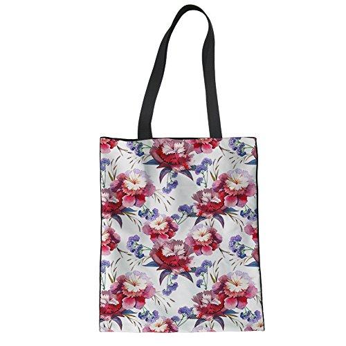 Shopping Floral floral Tote Shoulder CHAQLIN Bag 5 Girl Storage Groceries Printting Shopper Canvas Women q41XxZv