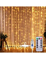 Curtian String Lights, HWZX 300 LED Window Curtain String Light with Remote Control Timer for Christmas Wedding Party Home Garden Bedroom Outdoor Indoor Decoration (Warm White)