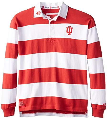 NCAA Indiana Hoosiers Men's Striped Rugby Shirt, Red/White, X-Large (Jersey Stripe Polo Bold)