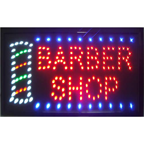 Barber Shop Sign for Business - Led Barber Shop Decor Open Light Sign - Motion Light Sign with US Plug - Great for Barber Shop, Hair Cuts, Hair Extensions Store, Hair Nails Shop (LED Barber Shop Sign) (Us-shop)