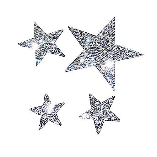 Bling Crystal Rhinestone Car Sticker Decal, Waterproof Bling Sticker Decor for Car Bumper Window Laptops (Star, Sliver)