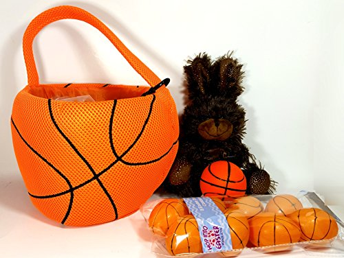 Basketball Plush Sports Easter Gift Bucket Set with Bunny, Grass, Toy Basketball, and 8 Basketball Themed Fillable Plastic Eggs