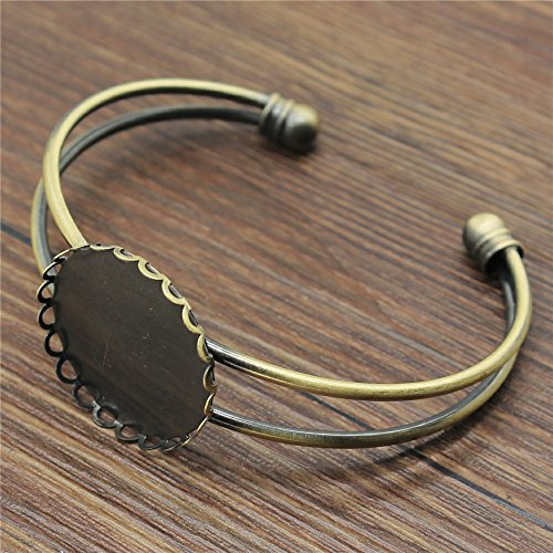 MEWME 3pcs Lace Adjustable Bangles Fit 25mm Round Flat Back Glass Cabochon Brass Blank Bezels Tray Wedding Women Fashion Jewelry Accessories H309