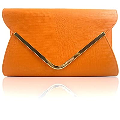 Zarla CROC Black Red Ivory Grey Green Pink Ladies Bridal Evening Party Clutch Bags Light Orange - clutches