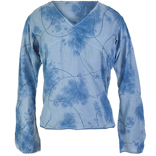 Old Glory - Womens Embroidered & Beaded Ls Blouse - Medium Blue ()