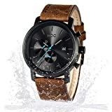 Brown Leather Watches for Men Black Casual Men's