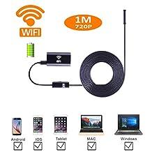 Smartphone WIFI Endoscope Inspection Camera Adapter, JimiTek 2.0MegaPixel HD Waterproof Borescope 720P Tube Camera Extension for IOS/ Android/ iPhone/ iPad ( 1M Shape-memory Rigid Cable, 8.5mm HD Camera)