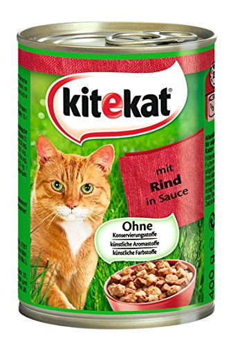 Kitekat Katzenfutter Rind in Soße, 12 Dosen (12 x 400 g)