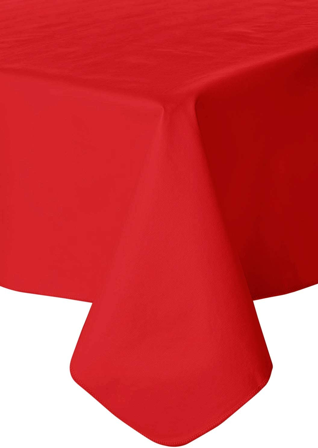 Fairfax Collection Galaxy Heavyweight Vinyl Tablecloth, 60-Inch by 90-Inch Oval, Ruby Red