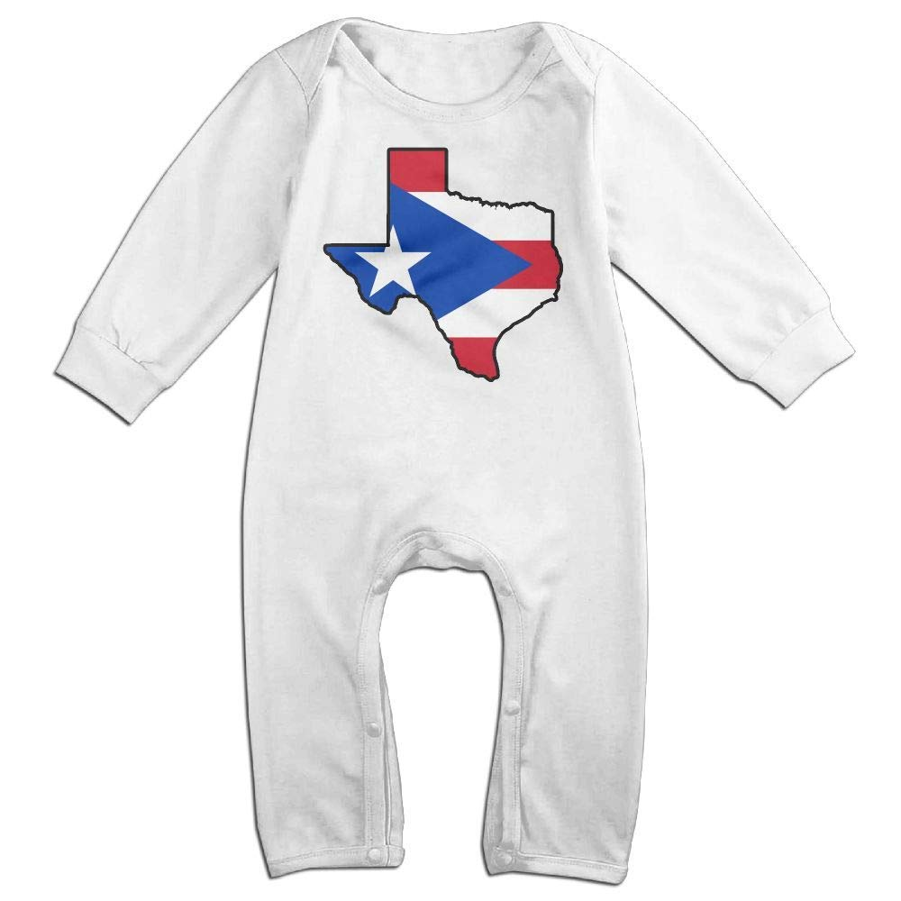 Baby Boy Girl Long Sleeved Coveralls Puerto Rico Flag Texas Map Infant Long Sleeve Romper Jumpsuit