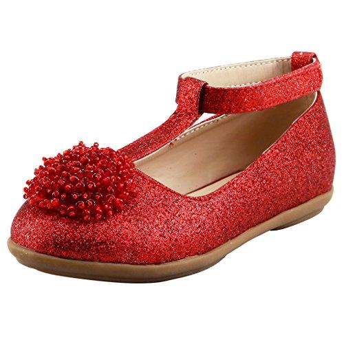 Red Glitter Toddler Shoes (The Doll Maker Girl`s Glitter T Strap Flat - FBA173002C-10)