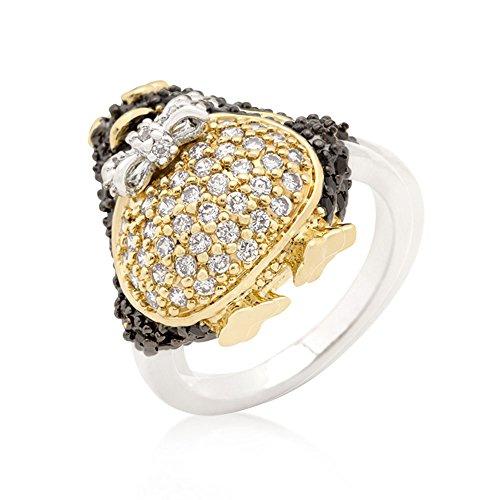 - J Goodin Precious Fahion Jet Black Cubic Zirconia Penguin Ring Size 10