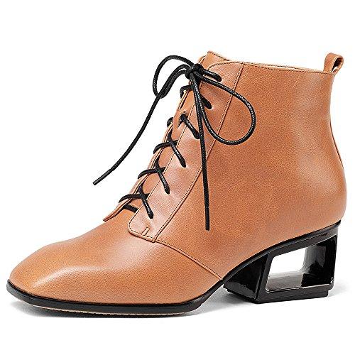 Toe Genuine Seven Exquisite Orange Style Lace Leather Ankle Women's Heel Nine Square Sexy Up Booties Handmade wqdaTXw5
