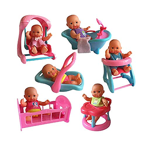 The New York Doll Collection Mini Bathtub Set of 6, - Mini Dolls with Infant Seat, Cradle, Highchair, Walker, and Swing for Ages 3 and up.