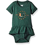 NCAA Miami Hurricanes Children Girls Short sleeve Ruffle Onesie,12M,Evergreen Blend