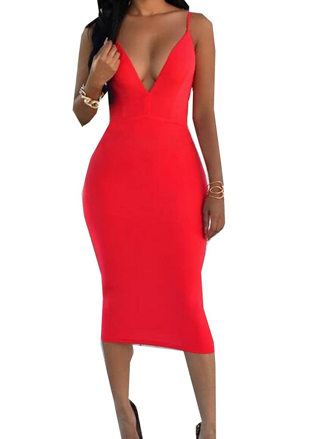 Vska Womens Deep V Neck Sleevelees Bodycon Sexy Mid Dress