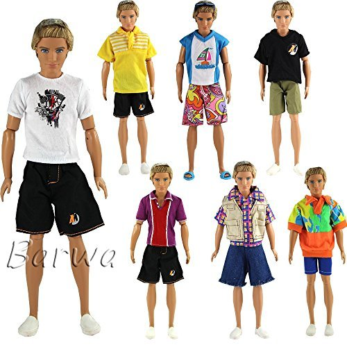 Barwa Random Style 3 Sets Fashion Casual Sporty Summer Set Outfit for 12 Inch Barbie Ken Doll