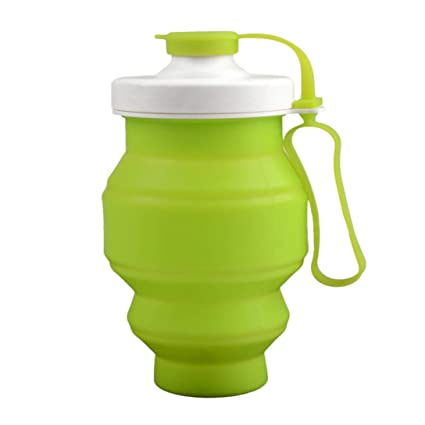 881f9e5a12 YJYDADA Collapsible Folding Silicone Drink Water Bottle Cup Kettle Outdoor  Sport (green)