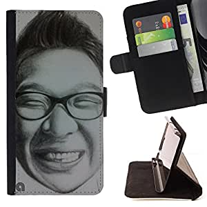 """For Samsung Galaxy S6 Active G890A,S-type Lápiz Retrato del gráfico del hombre"""" - Dibujo PU billetera de cuero Funda Case Caso de la piel de la bolsa protectora"""