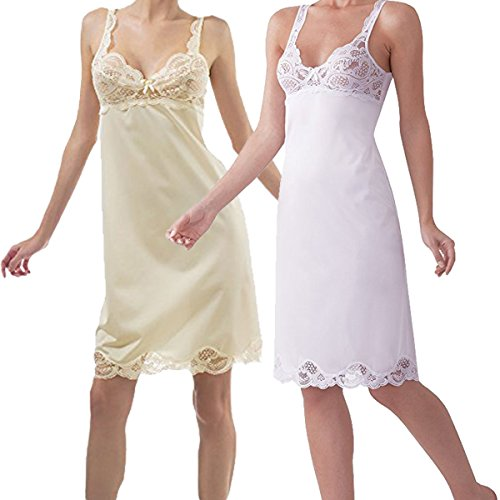 (Under Moments Antistatic Vintage-Style Full Slip w/Lace Details (2-Pack) Beige-White)