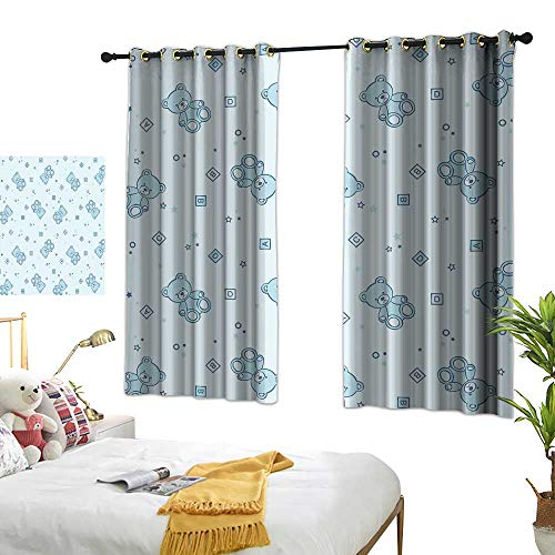 Unpremoon Curtain Panels Nursery,Teddy Bears and Toys with Letters on Children Imagery Baby Blue Background,Baby Blue Aqua W63 x L72 Drapes for Living Room
