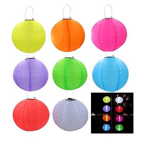 RioRand 8pcs Chinese Waterproof Outdoor Garden Solar Hanging LED Light Lanterns ()