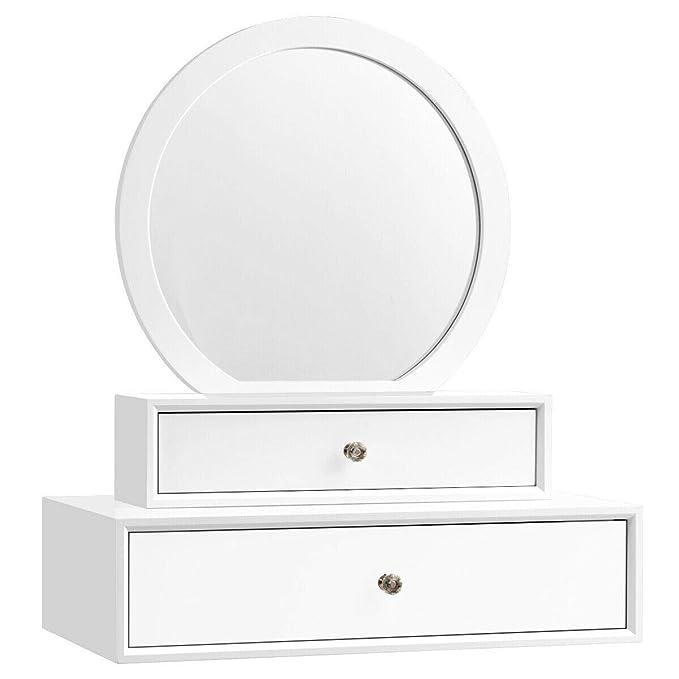 LjzlSxMF Espejo de Pared Tejida Hecha a Mano Que cuelga de Maquillaje Rattan montado en la Pared de la Borla de la Ronda para el Dormitorio de la Sala de decoraci/ón