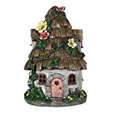 Exhart Gardening Gifts - Shingled Roof Fairy House - Whimsical Garden Statues w/Solar Garden Lights, Outdoor Use, Fairy Themed Garden Décor, Weather Resistant Resin Statues