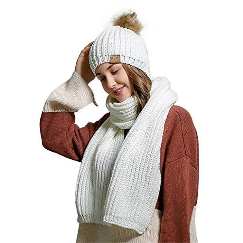 RNTOP Women Crochet Hat Fur Woolen Knit Beanie Raccoon Warm Caps+Scarf Shawl Suit (White)