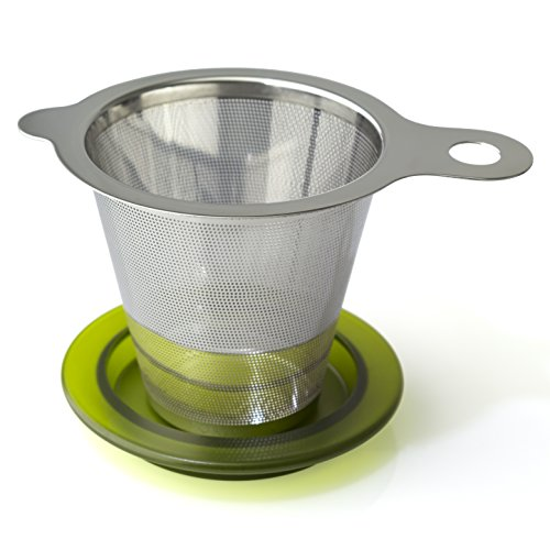 FORLIFE 618-A-GTE One Cup Infuser Tea Strainer, Stainless Steel, Green