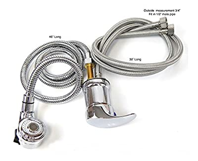 Faucet and Spray Hose for Beauty Salon Shampoo Bowl Parts Kit (Silver Head)