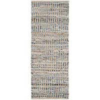 Safavieh Cape Cod Collection CAP352A Hand Woven Flatweave Natural and Blue Striped Jute Runner (23 x 8)