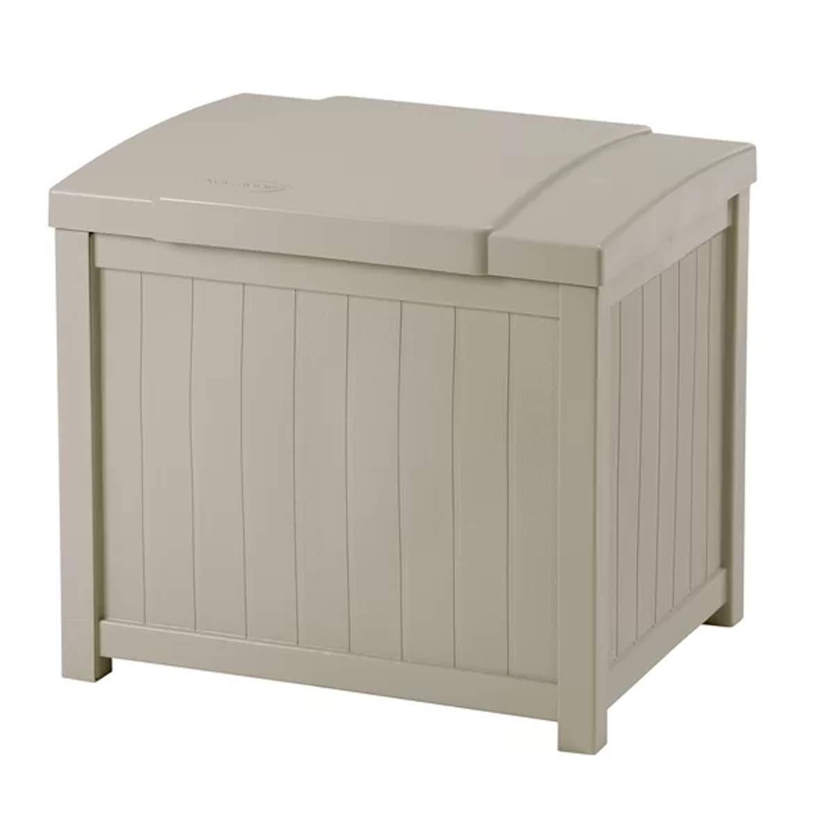 J&M Garden Storage Deck Box 22 Gallon Resin Outdoor Patio Container in Taupe Finish