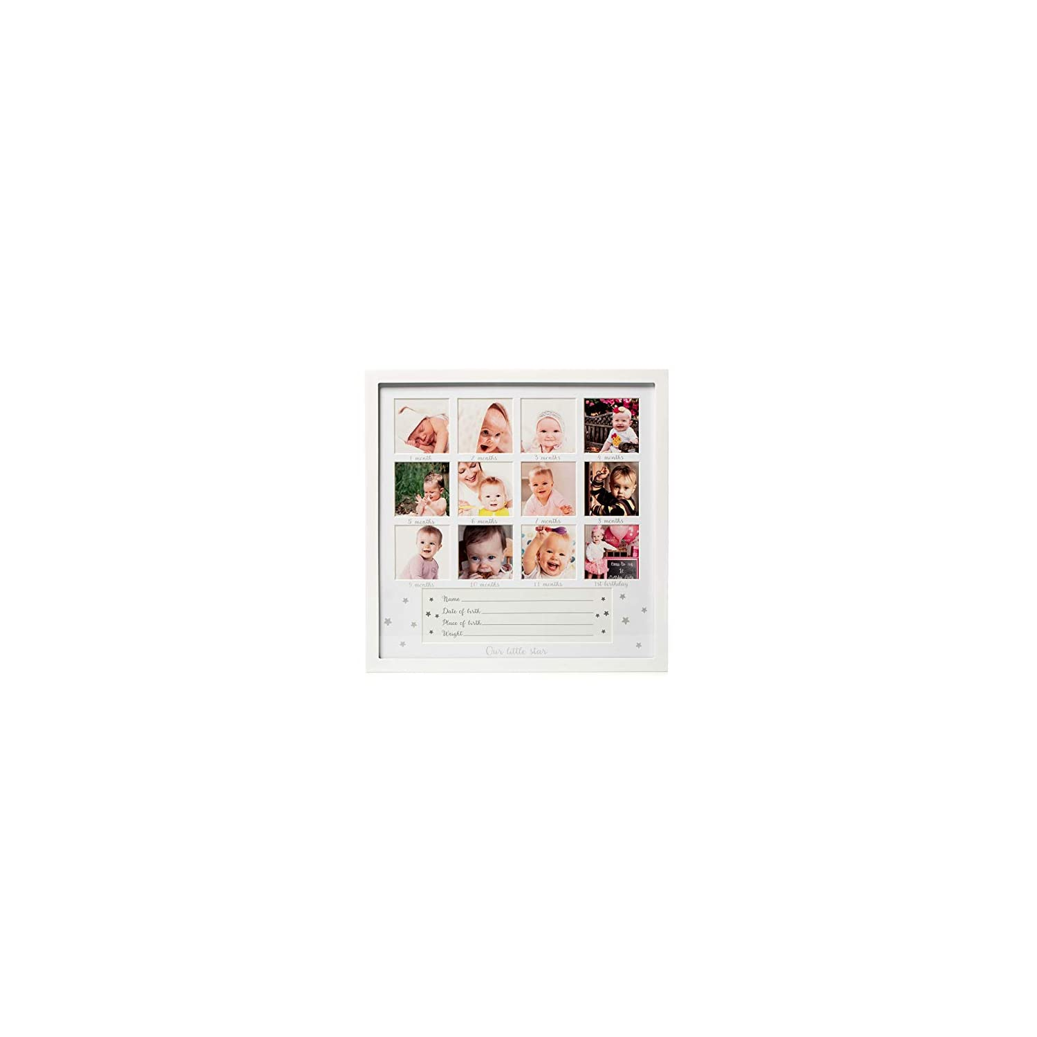 1Dino My First Year Baby Keepsake Picture Frame – 13.2″x 13.2″ White Wood Baby Frame Hold 12 Months Photo Inserts – Newborn Baby Registry, Shower Gift for Boys and Girls, Wall or Desk Nursery Decor