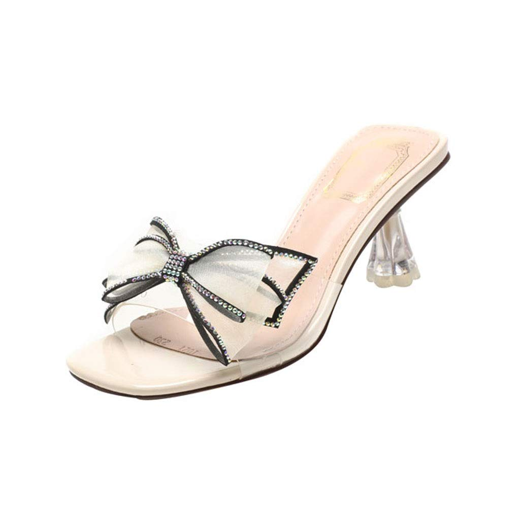 Beige Ailj Women's Summer Sandals, Stylish Bow Transparent Sandals Sexy Charm with Drill One-Word Drag 2 colors