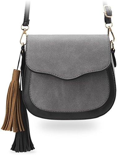 kleine stilvolle Damentasche Schultertasche mit Klappe und Fransen - Anhänger in Nubuk - Optik grau