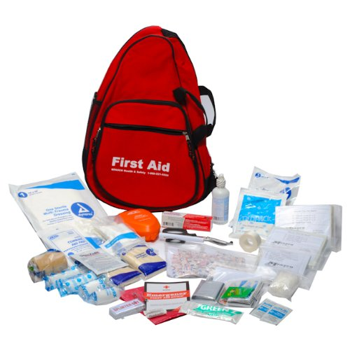 Emergency First Aid Kit Packed in Red Sling Bag by Michigan First Aid