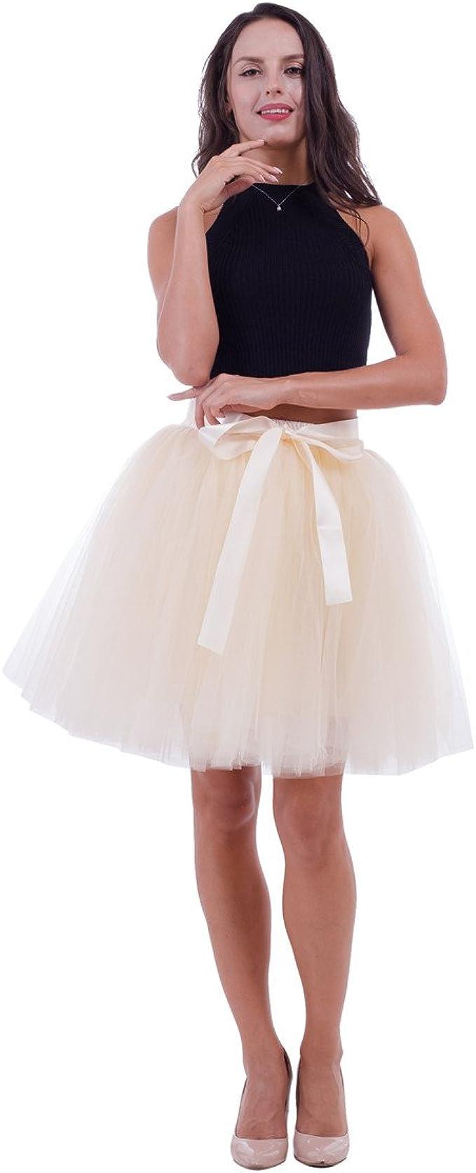 ShowYeu Damen 12 Schichten 12cm Knielang Tüllrock Tutu Tüll Kleid