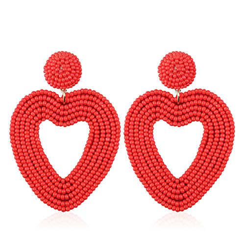 Statement Beaded Drop Hoop Earrings for Women Handmade Heart Shape Novelty for Daily Holiday Party Meeting Club with gift box HLE135 Red (Red Heart Earrings)
