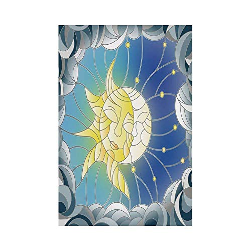 (Polyester Garden Flag Outdoor Flag House Flag Banner,Sun and Moon,Stained Glass Style Illustration of Interweaving Sun and Moon in Sky Romantic Decorative,Multicolor,for Wedding Anniversary Home Outdo)