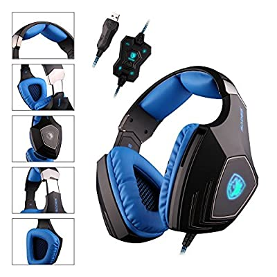 SADES A60 7.1 Surround Sound headphones Pro USB PC Gaming Headset Over the Ear Stereo headsets Headband with High Sensitivity Microphone Vibration Noise-Canceling Volume Control Wolf Logo LED Light(Black)