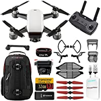 DJI Spark Upgrade Combo Kit w/ Backpack, Extra Battery (2 Total) , Lens Filters, 32gb MicroSD, Power Bank Adapter, Battery Bank, iPhone Cable, Lanyard & Much More