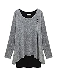 Women Winter Casual 2 Pieces Button Down Loose Plus Size T-shirt Top Tee