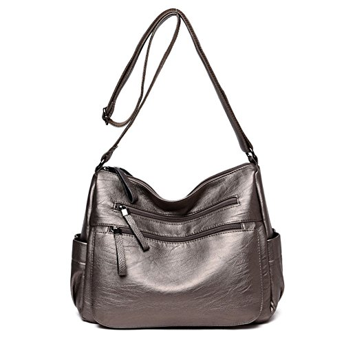 Sanxiner Women's Leather Multi-Pocket Crossbody Bag Trendy Handbag Shoulder Bags (A-Bronze) (Leather Bronze Bag)