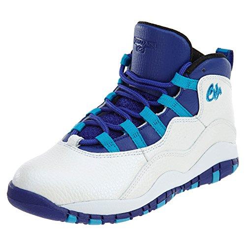 Nike Jordan Kids Jordan 10 Retro Bp White/Concord Blue Lagoon Black Basketball Shoe 2 Kids - Kids Jordan New
