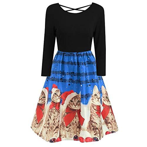iYBUIA O-Neck Womens Fashion Long Sleeve Plus Size Christmas Print Criss Cross Party Dress