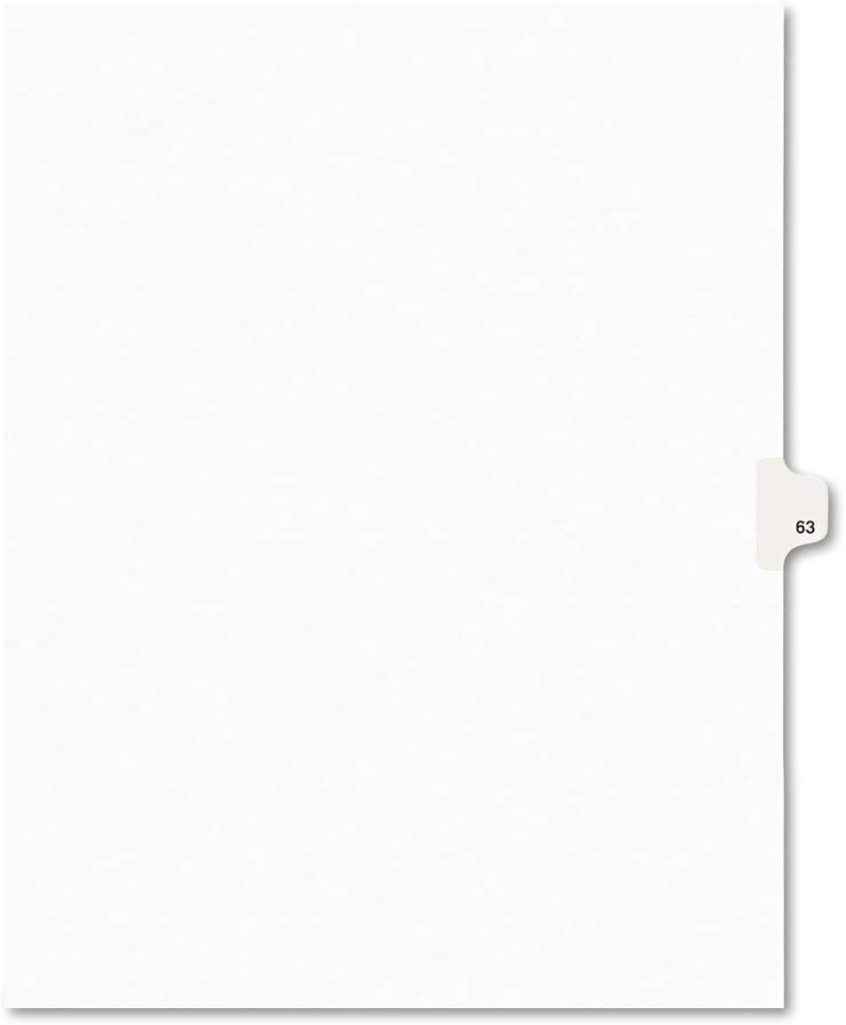 Letter White Avery 01063 Avery-Style Legal Exhibit Side Tab Divider Title: 63 25//Pack