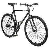 Retrospec Harper Single-Speed Fixed Gear Urban Commuter Bike, Matte Black, 53 cm