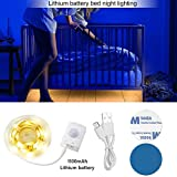 Lithium Battery Bed Night Light, INKERSCOOP Under Bed Lighting Motion Activated Sensor Night Light LED Strip Baby Kids Night Light Smart Bedroom Accessories Automatic On Off 3000K(Warm White)